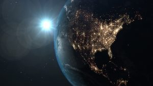 Image of the earth with city lights