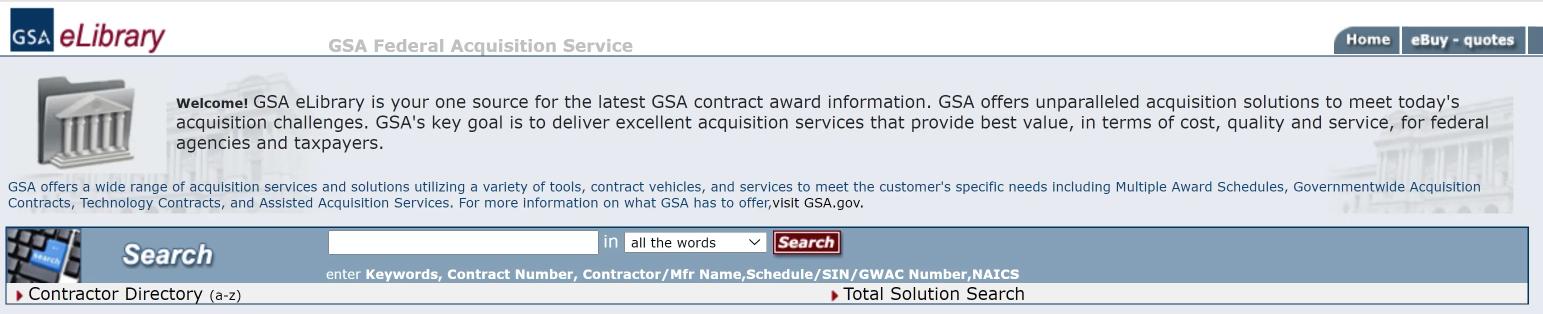 GSA eLibrary Search Bar
