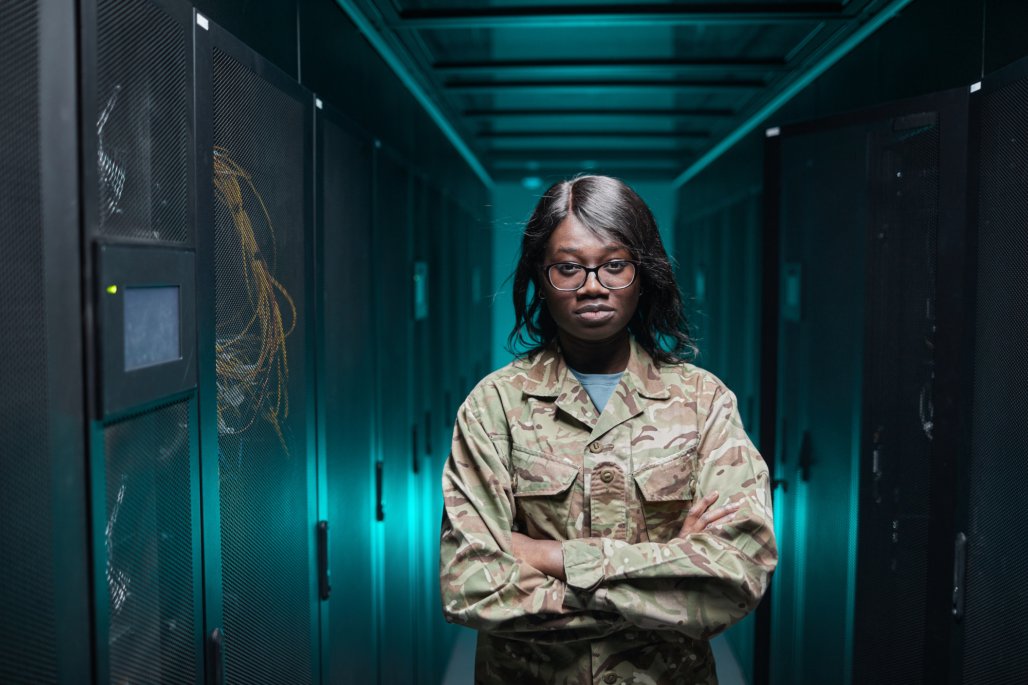 Military Woman in Server Room